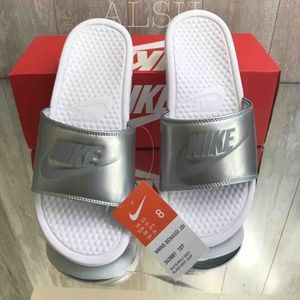 NWT Nike Benassi JDI White Silver W AUTHENTIC